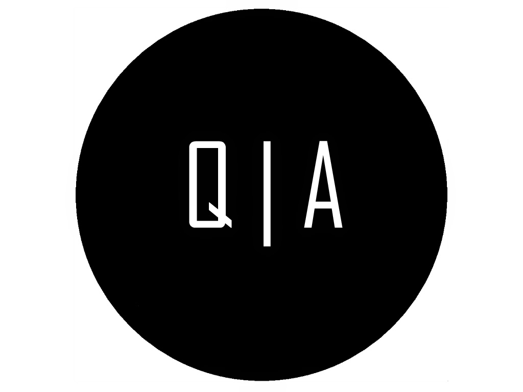 Black circle with Q and A written inside