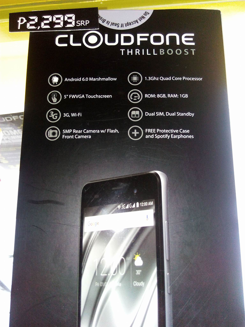 CloudFone Thrill Boost With 1 GB RAM And Marshmallow OS Spotted, Priced At 2299 Pesos!