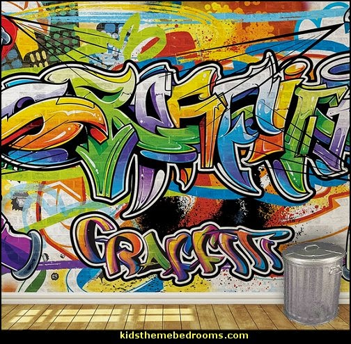 Graffiti wall murals - Urban style punk theme bedroom ideas - skateboarding theme bedroom decorating -  Urban wall Murals - graffiti wallpaper murals - graffiti wall designs - graffiti bedrooms furniture -