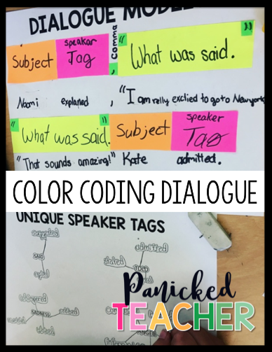 speaker tag lesson, dialogue lesson, color coding dialogue