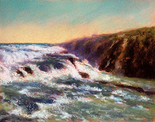 Original soft pastel painting of Gulfoss waterfall in Iceland, By Manju Panchal