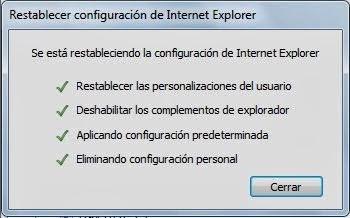 Mensaje estado restablecer Internet Explorer