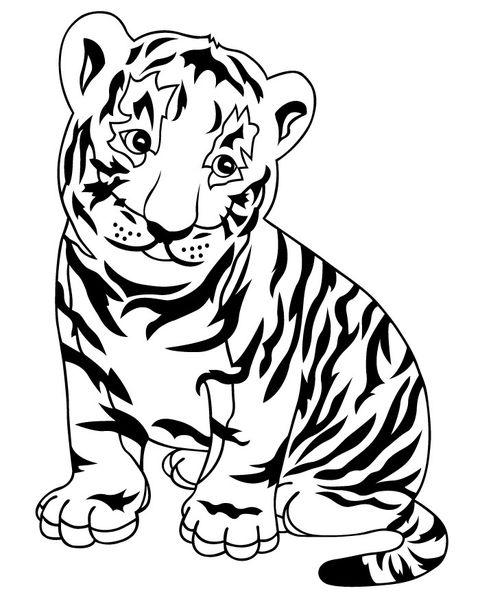 Tranh tô màu con hổ đang ngồi nghiêng đầu