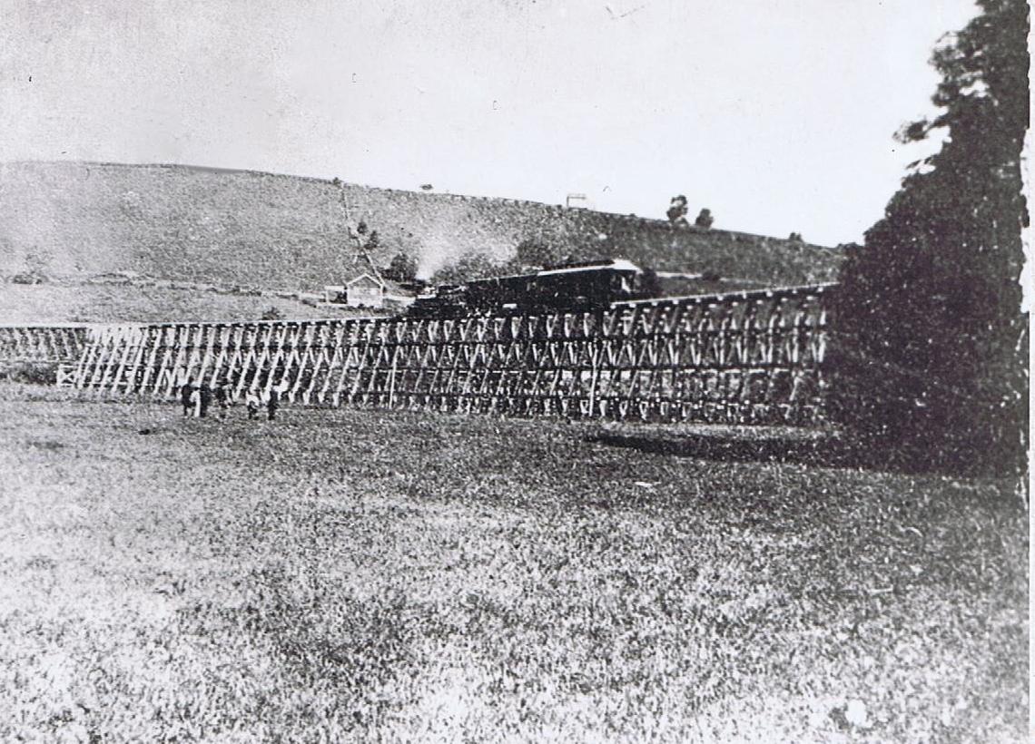 """Photo 1869 Oswego New York /""""Train Trestle Used to Load Coal/"""""""