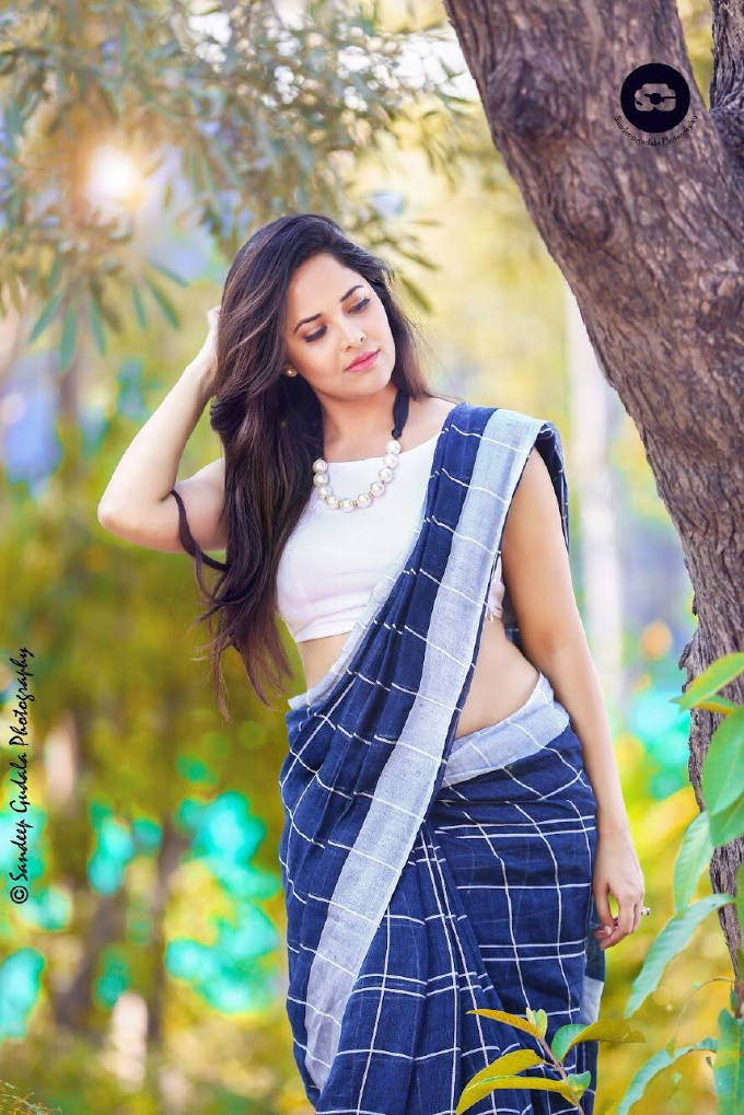 Telugu TV Anchor Anasuya Hot Unseen Photo Shoot In Blue Saree 2018