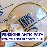 pensione anticipata contributiva con 20 anni di contributi
