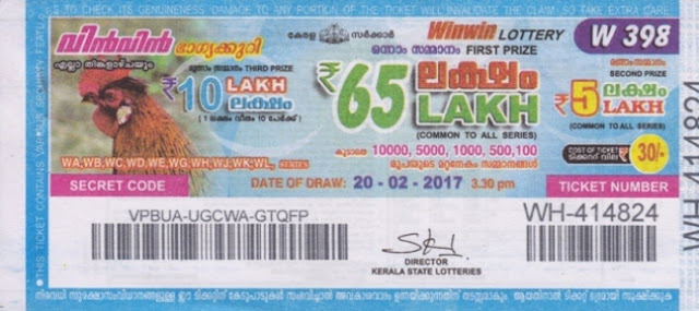 Kerala lottery result official copy of Win Win-W-282