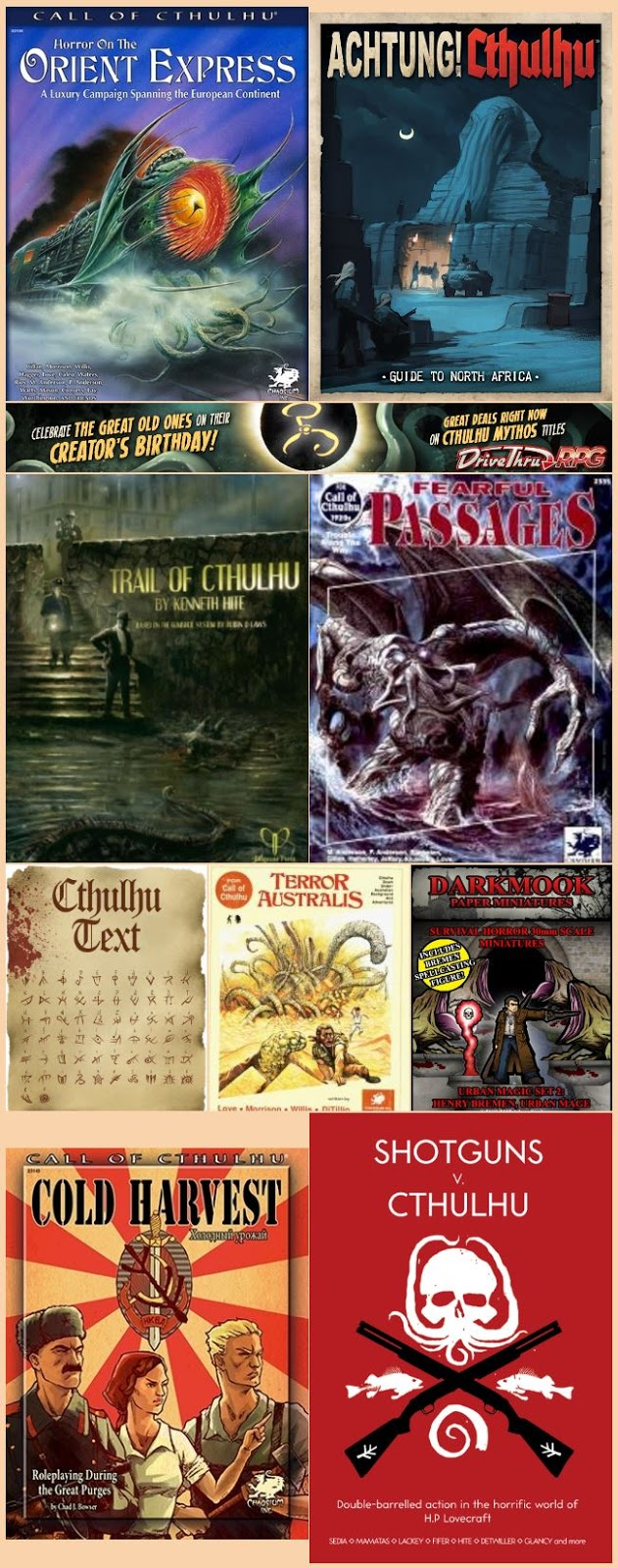 Cthulhu products on drivethruRPG