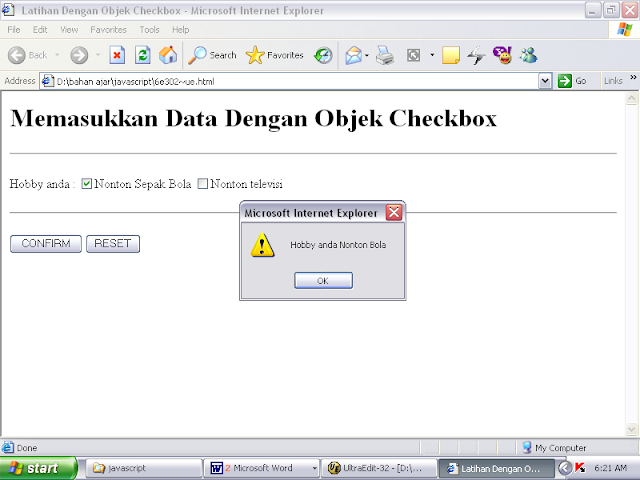 SOURCE CODE Program Memasukkan Data dari Objek Checkbox JavaScript