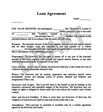 Sample Loan Agreement Between Two People