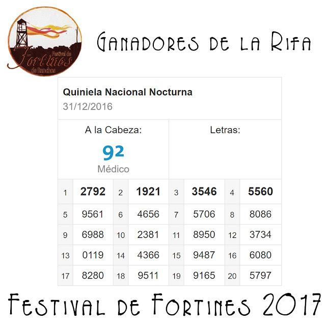 Ganadores del Último Sorteo de la Rifa del Festival de Fortines