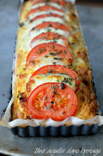 Pudding salé de pain chorizo-tomate-mozzarella