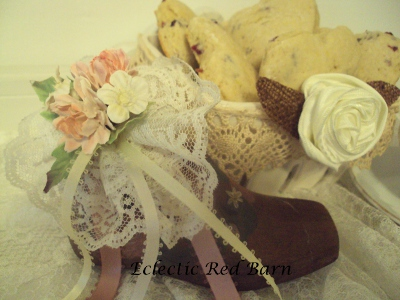 Eclectic Red Barn: Cherry Scones in White Ceramic Strawberry Basket with Vintage Wooden Shoe
