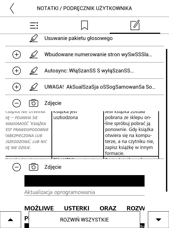 Widok listy zaznaczeń: tekstowych i w formie zrzutu ekranu