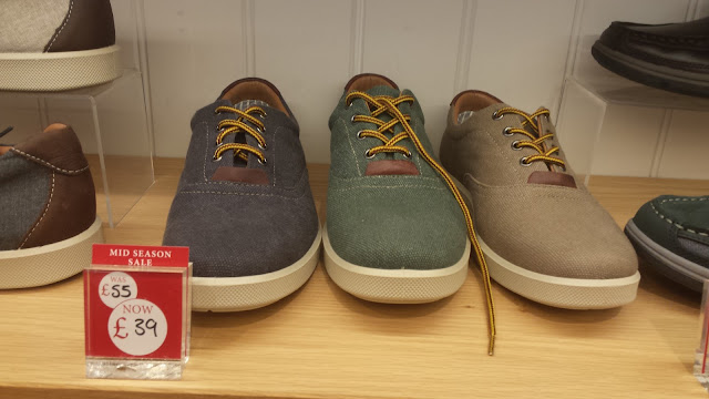 Mens canvas shoes blue green tan Hotter