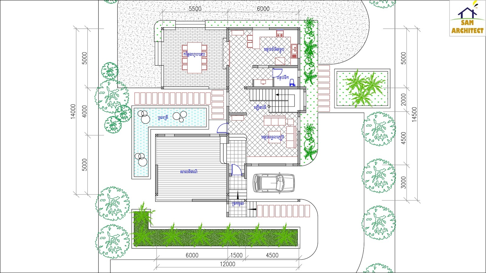 SketchUp Home Plan 12x14m 3 Story House With 4 Bedrooms ... on Sketchup Backyard id=33721