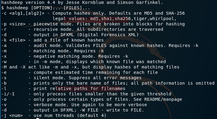 Hashdeep Kali Linux forensic tool