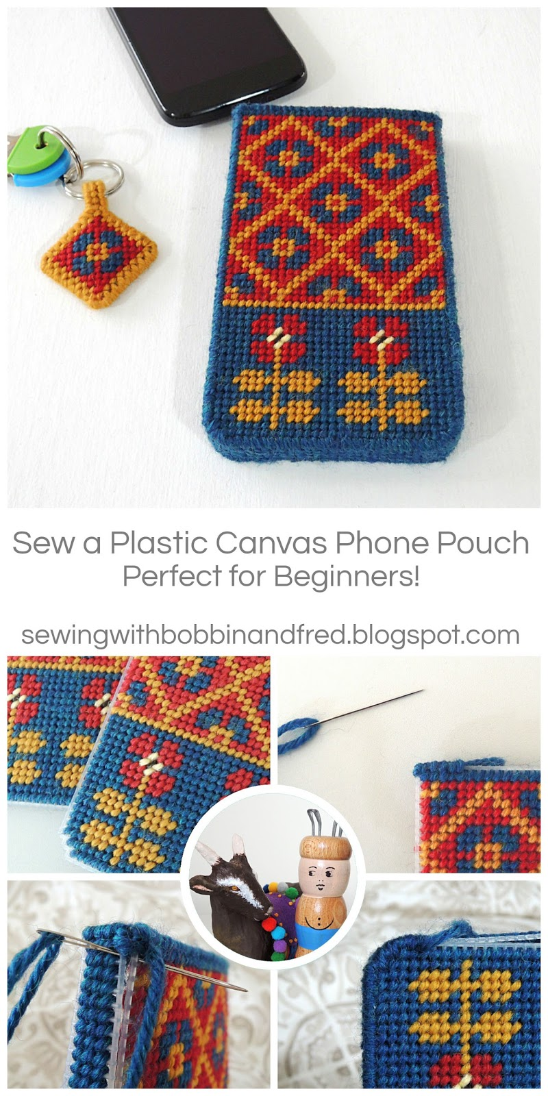 Plastic canvas phone pouch tutorial and pattern