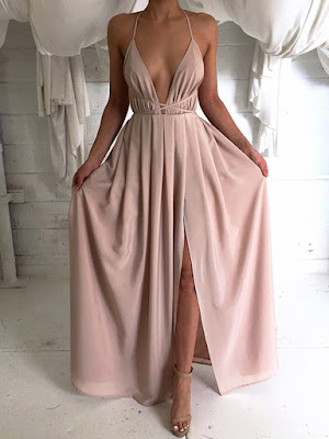 Hot V-neck Sheath/Column Chiffon Split Front Floor-length Backless Prom Dresses