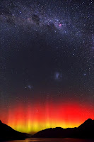 Aurora, Milky Way Galaxy, Large Magellanic Cloud Galaxy and Small Magellanic Cloud Galaxy seen over New Zealand