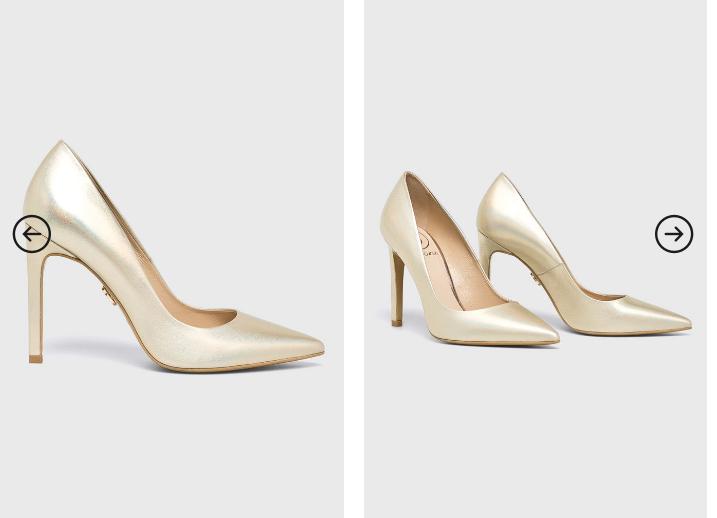 Baldowski - Pantofi cu toc eleganti auriu perla din piele de ocazii