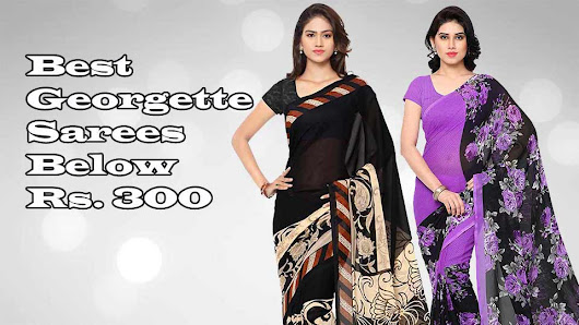 Amazon georgette sarees below 300 with blouse piece