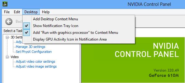 loại bỏ Nvidia Control Panel khỏi menu chuột phải