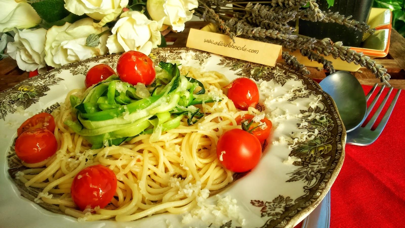 Espaguetis con calabac n y tomate adios a la b scula for Espaguetis para dos