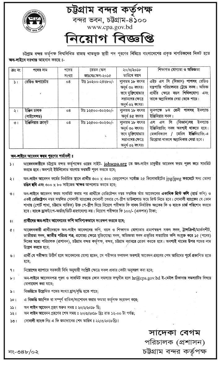 Chittagong Port Authority (CPA) Job Circular 2018