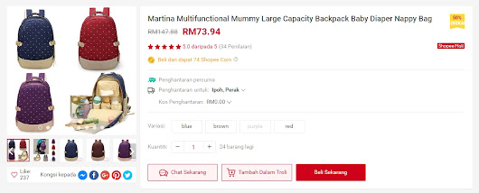 Martina Multifunctional Mummy Large Capacity Backpack Baby Diaper Nappy Bag | Shopee