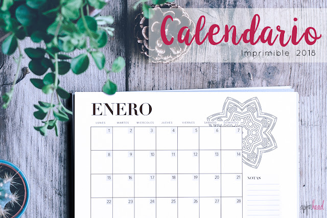 Freebie: calendario 2018 imprimible
