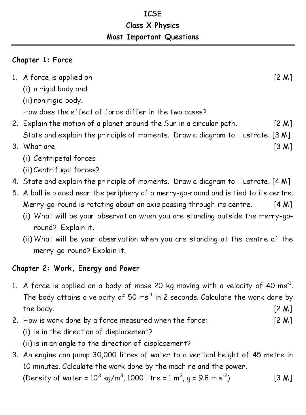 ICSE Physics Chapter Wise Important Questions Class 10