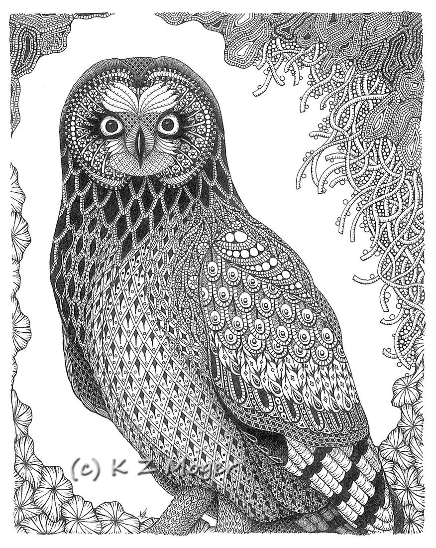 05-Short-Eared-Owl-Kristin-Moger-Domestic-and-Wild-Zentangle-Animal-Portraits-www-designstack-co
