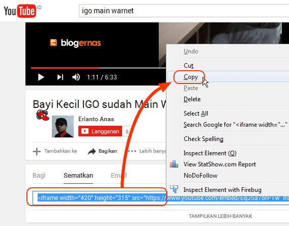 Cara Cepat Mendapatkan Embed Video Youtube