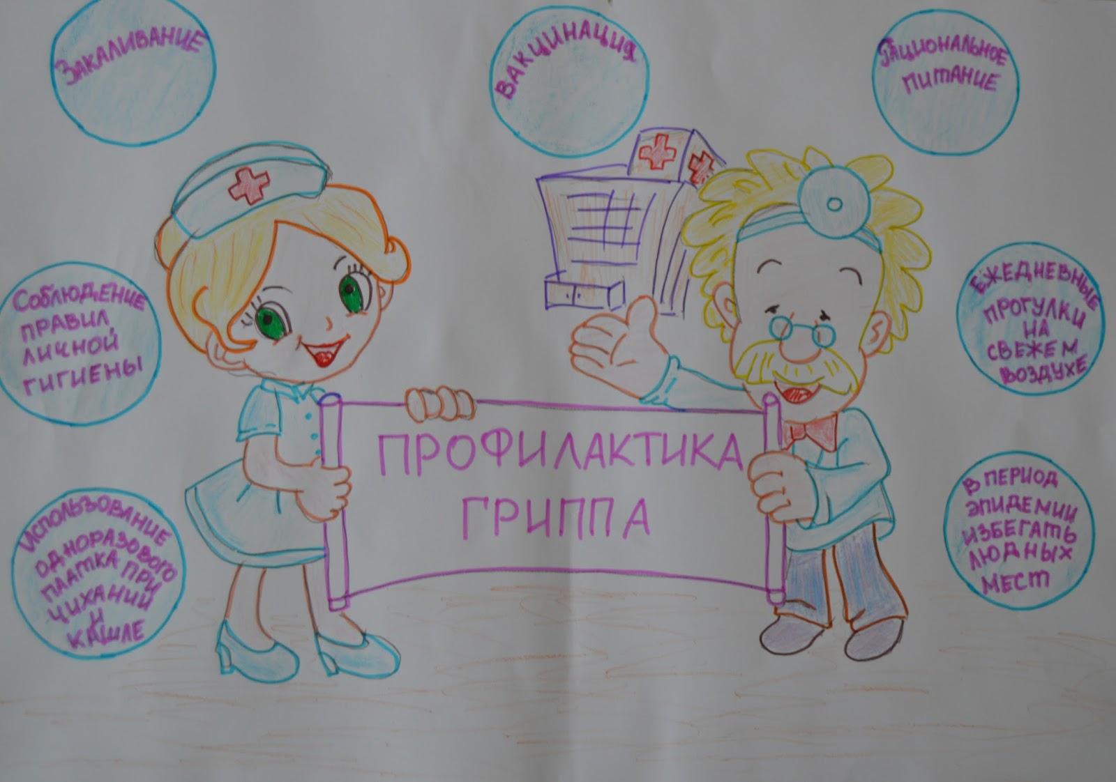 Профилактика гриппа детские рисунки плакаты
