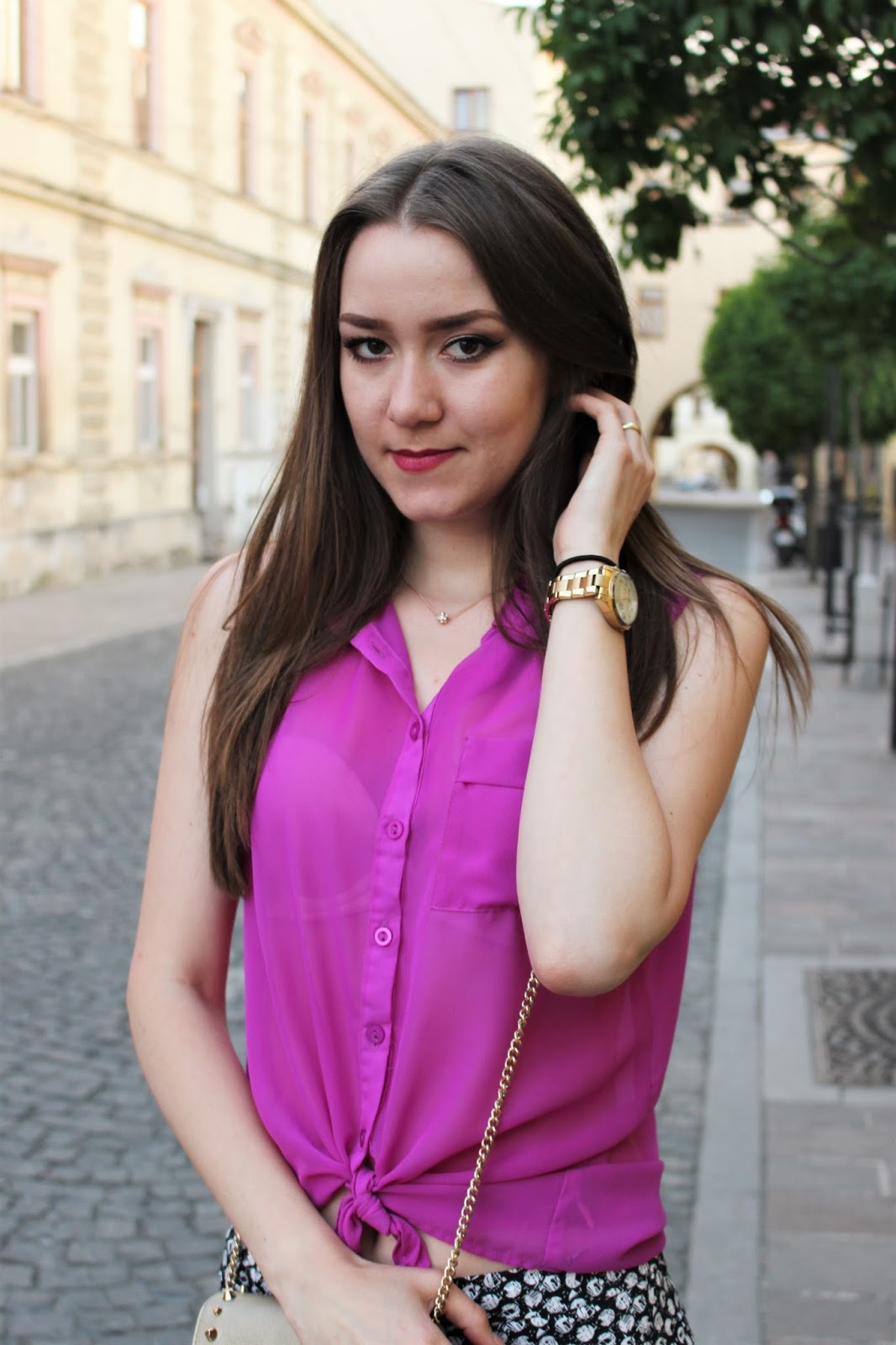 purple blouse with a knot