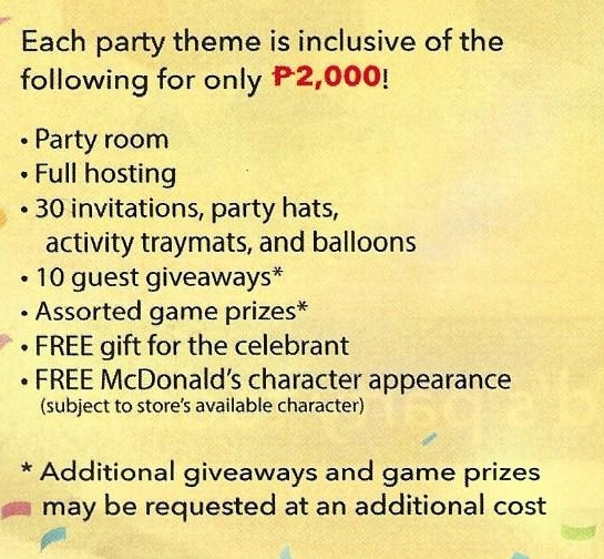McDo Party Inclusions 2018