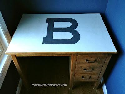 kids desk with monogrammed top