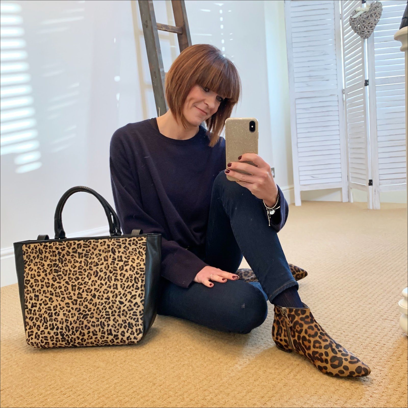 my midlife fashion, h and m oversized crew neck cashmere jumper, gucci double g leather logo belt, j crew 8 inch toothpick jeans in classic wash, boden johnnie leopard print ankle boots, radley witney faux leopard leather large grab tote bag