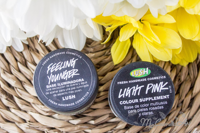 Maquillaje de Lush: Base de color Light Pink y base iluminadora Feeling Younger