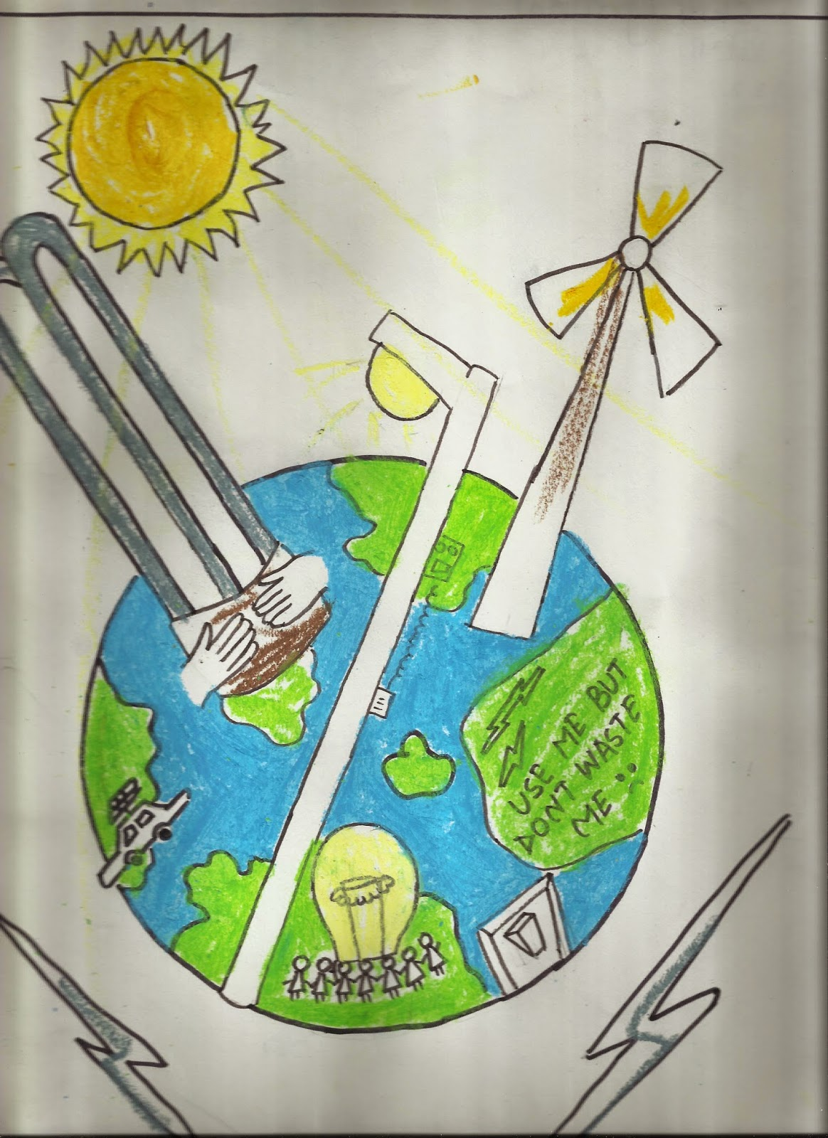 Easy Drawing For Save Electricity It School