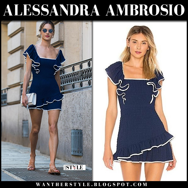 Alessandra Ambrosio in navy blue ruffled mini dress ale by alessandra model summer style july 4