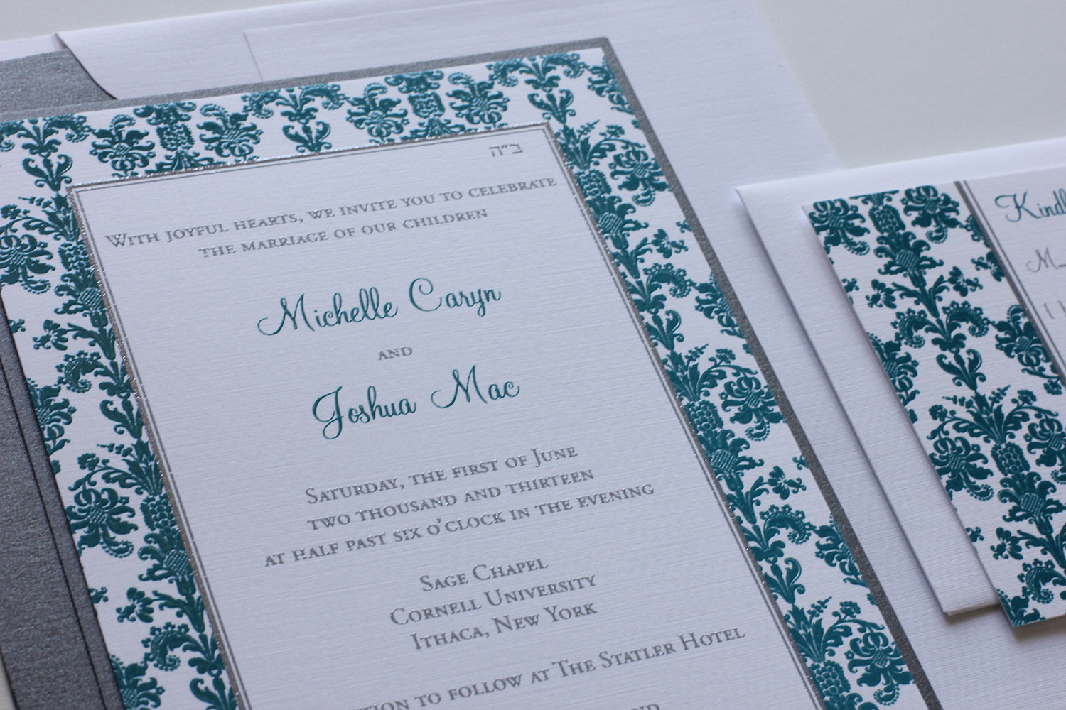 Silver Wedding Invitations: Blush Paperie: Teal & Silver Wedding Invitations