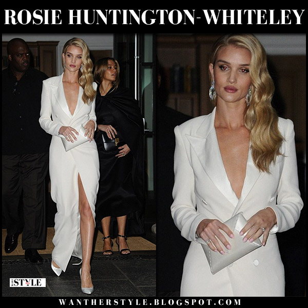 Rosie Huntington-Whiteley in white plunging tuxedo dress ralph lauren and white pumps christian louboutin chiara nyfw style september 7