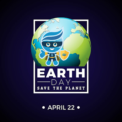 Poster featuring illustrated image of earth and Rio Salado mascot splash dressed as a super hero.  Text: Earth Day, Save the Planet April 22