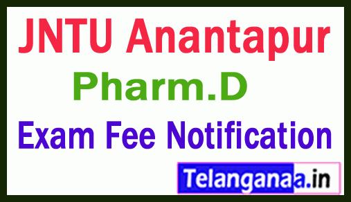 JNTU Anantapur Pharm.D Regular Supply  Exam Fee Notification Jan 2019