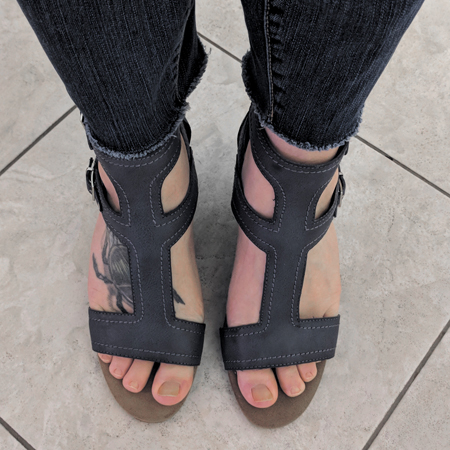 image of my feet in blue gladiator sandals