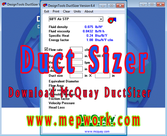 Download McQuay Duct Sizer for Air Duct Sizing - Free Version