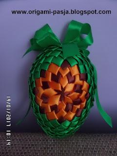 wielkanoc, święta, zielone, jajo, jajko, jajeczko, alleluja, wstążka, pomarańcz, brąz, rękodzieło, handmade, diy,