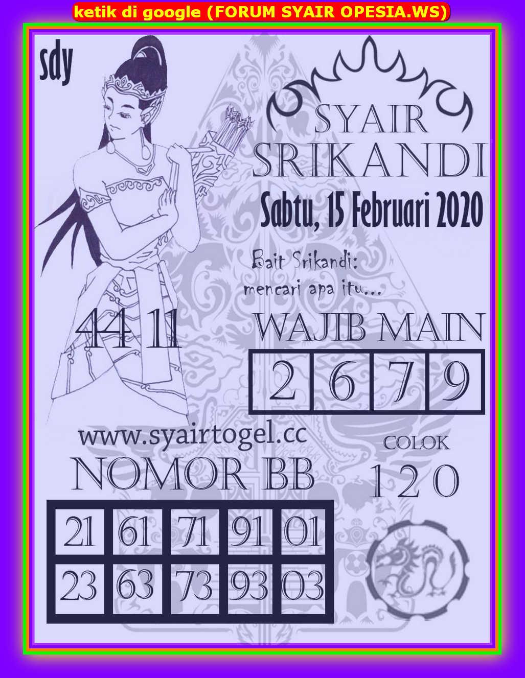 Kode syair Sydney Sabtu 15 Februari 2020 131